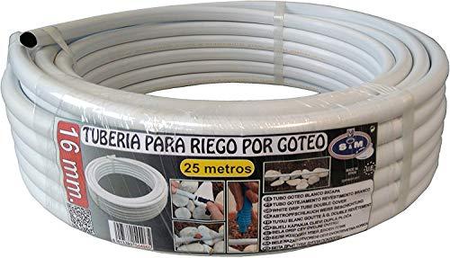 S&M 544965 Tubería Blanca de Goteo bicapa 16 mm x 25 Metros, 41x41x12 cm