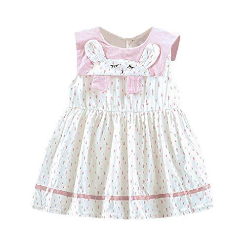 Walaka Bebe Fille Ete Polka Dot Imprimé Cartoon Bunny Party Princess Robe VêTements 1/ Set - Robe pour Bebe Fille 0-2 Ans