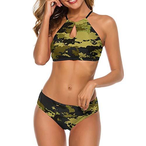Cheeky Bikini Set Swimsuit for Women, Adjustable Straps Beachwear Halter Swimwear Top Bathing Suit for Vacation Beach Swim - Cool Camo Camouflage Military Swimsuit Bra Sets