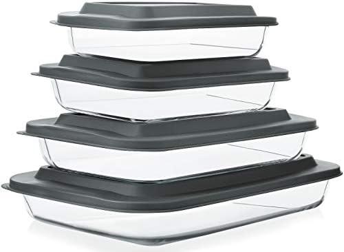 8 Piece Deep Glass Baking Dish Set with Plastic lids Rectangular Glass Bakeware Set with BPA product image