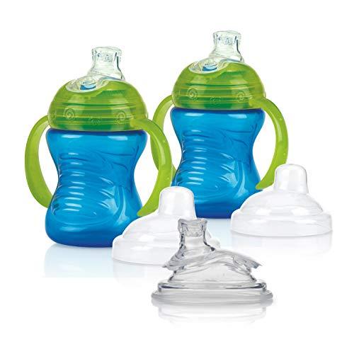 Nûby – 2 vasos azules y 2 boquillas de repuesto, color azul