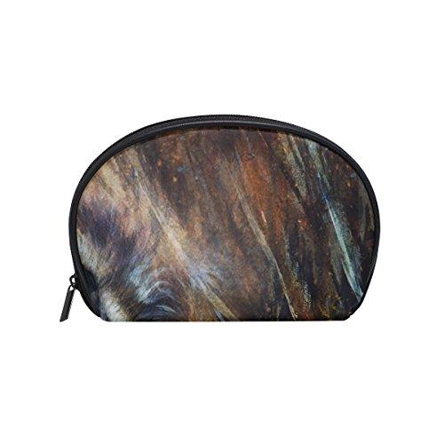 TIZORAX Kosmetiktasche mit Wolf- und Adlerfedern, Farbmalerei, Hintergrund, handlicher Organizer, Tasche, Make-up-Tasche, Geldbörse für Frauen und Mädchen