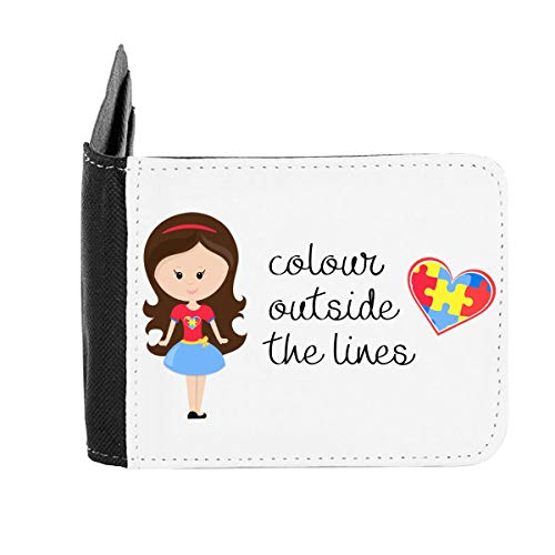 Colour Outside The Lines - Autism Puzzle Heart Quote (Girl 1 with Long Brown Hair) Gent's Wallet