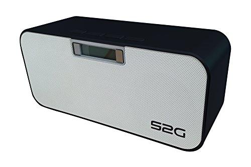 S2G HEAVY METAL Bluetooth Stereo Lautsprecher, FM Radio, USB, Micro SD, Freisprecheinrichtung, Wecker, Alarm, beleuchtetes Display, Uhrzeit, Energiesparmodus - Schwarz/Weiß