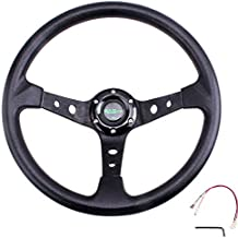 """RASTP Universal Drifting Deep Dish Racing Steering Wheel 13.8""""/350mm 6 Bolts Grip Vinyl Leather & Aluminum with Horn Button for Car -Black"""