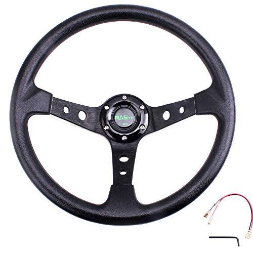 "RASTP Universal Drifting Deep Dish Racing Steering Wheel 13.8""/350mm 6 Bolts Grip Vinyl Leather &..."
