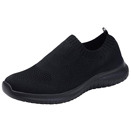 TIOSEBON Women's Walking Shoes Lightweight Mesh Slip-on- Breathable Running Sneakers 7.5 US All Black