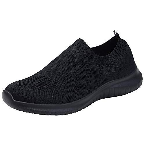 TIOSEBON Women's Walking Shoes Lightweight Mesh Slip-on- Breathable Running Sneakers 10 US All Black