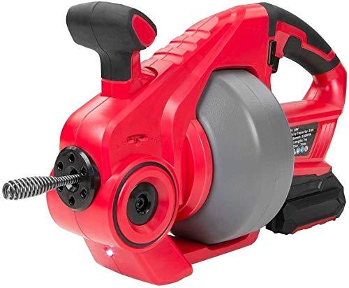 Automatische Rohrreinigungsspirale, Zufuhr Schnurloser Ablass-Verstopfungsentferner für 19-50 mm Rohre, Ablassschnecke mit austauschbarer flexibler Welle (7 m),geeignet für Toilette, Kanalisation