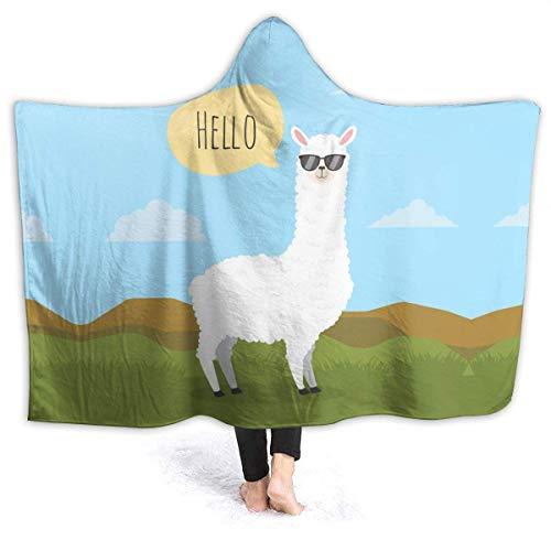 Hello, Alpaca con Gafas de Sol Manta con Capucha Manta de Franela para sofá Cama Sofá 80 'x 60'