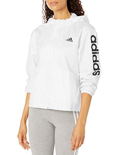 adidas,Womens,Linear Windbreaker,White/Black,Medium