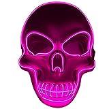 BFMBCHDJ Unisex Halloween Leuchtende Maske Cosplay Led Horror Tod Schädel El Line Neon Fluoreszierende Festival Party Maske Licht K One Size