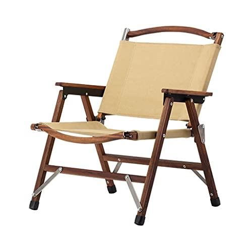 LICHUAN Silla de camping – Silla plegable portátil de madera y lona para exteriores, ideal para camping, patio, césped o uso en interiores – soporta 300 libras