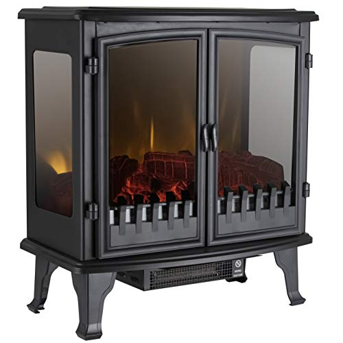 Warmlite WL46027 Carlisle Electric Fireplace, Adjustable Thermostat with , LED Flame Effect with Panoramic Viewing Window, Black