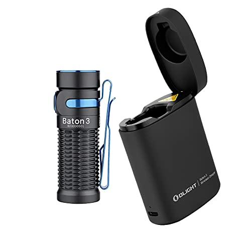 OLIGHT Baton3 LED懐中電灯 フラッシュライト ハンディライト 1200ルーメン 充電ケース 充電式 IPX8防水 防災 アウトドア 5年保証 セット