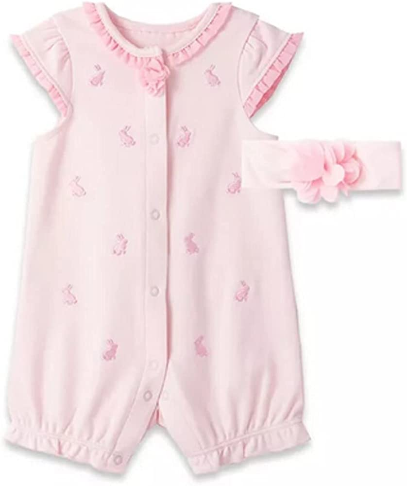 Little Me Baby Girls Arlington Mall Pink Romper Bunnies Charlotte Mall Embroidered and Ma with
