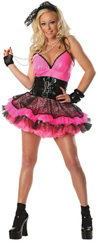 Delicious Totally 80's Costume, Pink/Black, S to XL