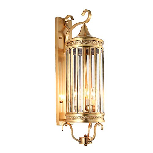 Style européen Lampe De Mur En Laiton De Luxe Étanche Villa Lampes Couloir E14 Lampe Créative En Cuivre Éclairage Balcon appliques murales,h70cm