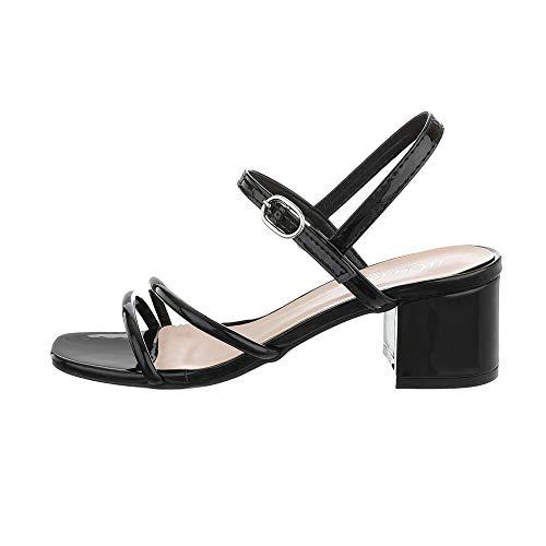 Ital-Design Damenschuhe Sandalen & Sandaletten High Heel Sandaletten, YL71-43-, Kunstleder, Schwarz, Gr. 39