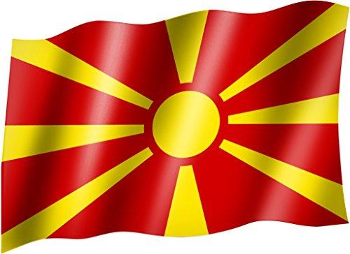 Sportfanshop24 Flagge/Fahne MAZEDONIEN Nord/NORDMAZEDONIEN Staatsflagge/Landesflagge/Hissflagge mit Ösen 150x90 cm, sehr Gute Qualität