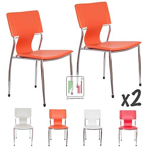 Stil Sedie - X2 Sedia da attesa ufficio e casa Roma (2 pezzi Arancione)