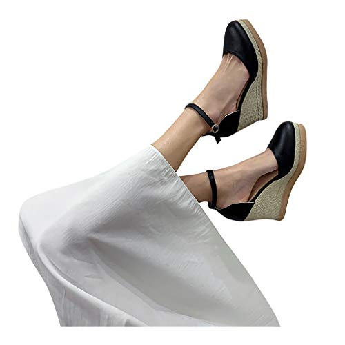 Buy Bargain Sunhusing Women Wedge Sandals Ladies Casual Round Toe Pump Solid Color Non-Slip Strap Bu...