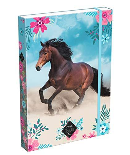 Theonoi süßes Pferde Motiv laminiert - hochwertige Sammelbox / Heftebox / Zeichenboxe / Dokumentendosier mit Gummizug / Gummiband für Kinder - Din A4 (Pferd 02)