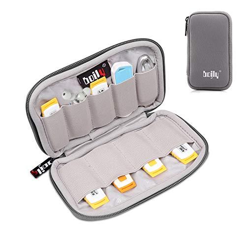 BOJLY Custodia per chiavette USB, Custodia per Accessori in Nylon Custodia Imbottita Impermeabile con 9 Scomparti per Scheda SD, Chiave USB, Cavo per Auricolare e Disco Rigido Esterno, Grigio