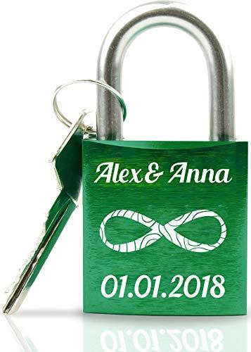 Geschenkfreude ABUS personalisiertes Liebesschloss mit Gravur und Schlüssel wahlweise mit Geschenkverpackung/Liebesschloss Gravur/ideales Hochzeitsgeschenk/Herzschloss grün