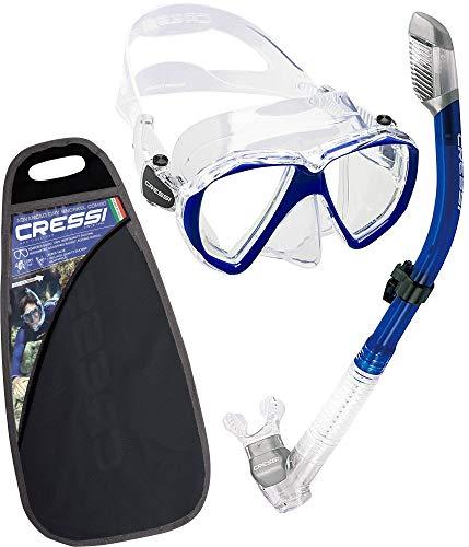 Cressi Ranger Schnorchelset - Schnorcheln Set mit Schnorchel und Taucherbrille, wasserdichte Tauchmaske Anti-Fog Anti-Leck aus Gehärtetem Glas, mit 3-Kanal Premium Dry Schnorchel für Erwachsene