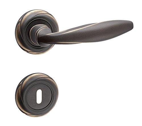 Design Drückergarnitur für Zimmertüren Türbeschlag Antik bronze - Modell METEOR | BB - Buntbart | Messing light bronze | Türdrücker mit Hochhaltefeder | Baubeschläge von JUVA®