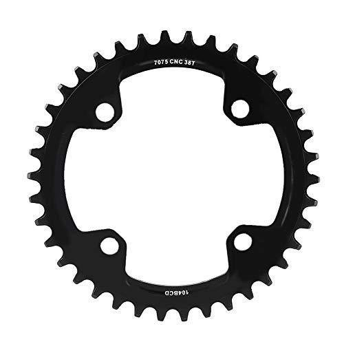 Qiilu 32/34/36/38 T BCD 104 Piezas de reparación de Anillo de Cadena de manivela de Bicicleta de montaña, Acero Colorido(Negro 38 t)