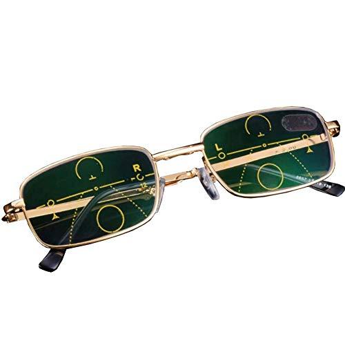 Metalen frame Leesbrillen, Progressive Multi-Focus, blauw blocking lenzen, verlichten vermoeidheid van de ogen,+3