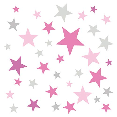 Little Deco Wandaufkleber 60 Sterne Kinderzimmer Mädchen Stars I pink rosa grau I Wandtattoo Schlafzimmer Wandsticker Set bunt selbstklebend DL405