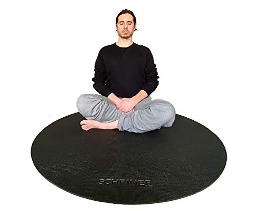 Schriner Pro Meditation Mat 4ft Round 8mm Thick Ultra Comfortable - Durable Non-Slip Non-Toxic - Multi Use Exercise Stretching Yoga Mat