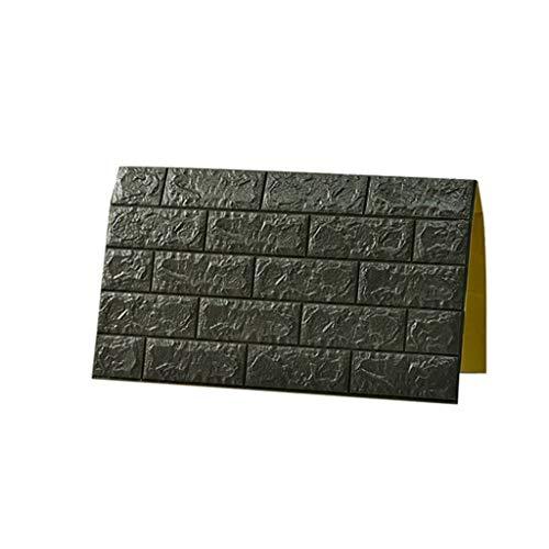 Paneles de pared 3D Ladrillo y papel tapiz de papel tapiz negro...