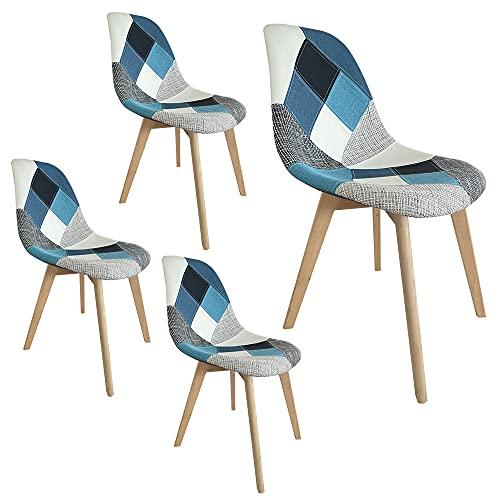 Set Sedie imbottite da pranzo o da ufficio o da sala d'attesa in kit da 2, 4 o 6 sedie con gambe in legno (Blue, 4)