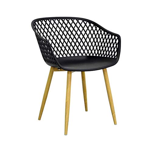 ZONS TANGO - Silla de diseño negro y patas de metal, imitación madera, extra grande