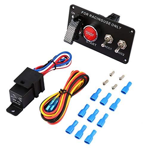 Bellaluee Panel de Interruptor de Encendido de Coche de Carreras, botón de Arranque de Motor, Interruptor LED de Palanca de 12 V, Interruptor Profesional para modificación de Coche