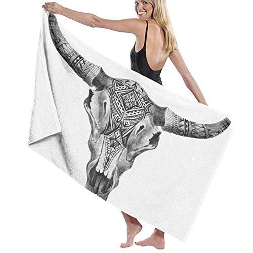 Toallas de baño súper Suaves suavidad,Cráneo de toros,Toallas de baño Grandes Ultra Absorbente 80x130CM