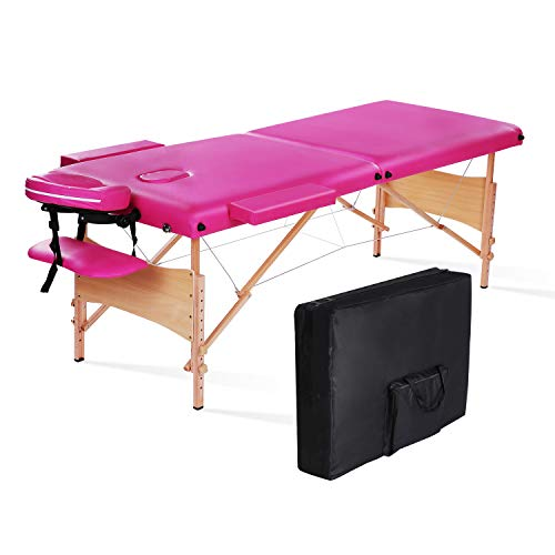MaxKare Massage Table Bed Professional Portable Facial SPA Bed Heigh Adjustable With Carrying Bag 2 Fold, Pink. (Pink)