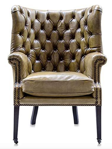Casa Padrino Luxus Echtleder Sessel Gelb/Schwarz 84 x 85 x H. 112 cm - Luxus Hotel Möbel