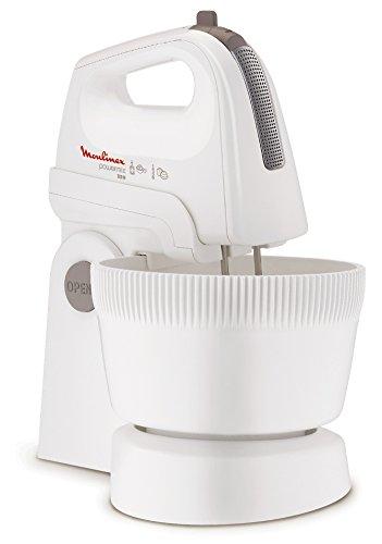 Moulinex Power Mix HM615110, 5 velocidades y turbo, varillas batidoras y amasadoras, bol inclinado con giro automático de 3,3 litros, contiene espátula de mezclado, 500 W, Blanco
