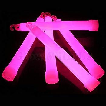 "Glow Sticks Bulk Wholesale 25 6"" Industrial Grade Pink Light Sticks Bright Color Glow 12-14 Hrs Safety Glow Stick with 3-Year Shelf Life GlowWithUs Brand"
