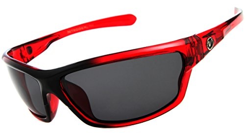 Nitrogen Men's Rectangular Sports Wrap 65mm Polarized Sunglasses, Red, Medium