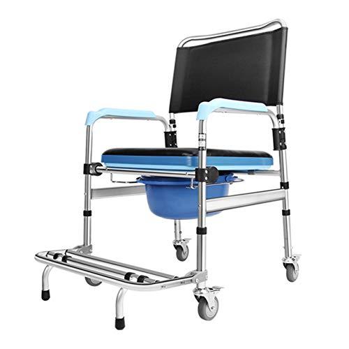 FXYY douchestoel met gewatteerde stoel, rug, armleuningen, vergrendelingswielen, commode, voetsteun, badstoel opvouwbaar medisch transport toiletbril badkamer rolstoel