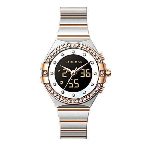 Relojes De Pulsera para Mujer Reloj De Cuarzo Analógico Digital Correa De Acero Inoxidable Esfera Resistente Al Agua con Podómetro Función De Calendario para Mujer Decoración De Moda