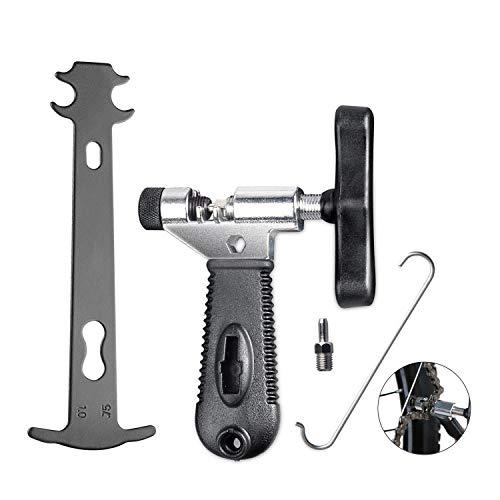 Tagvo Herramienta de la cadena de la bici 2-en-1 + Verificador de la cadena, herramienta universal de la reparación de la cadena de la bicicleta con la cadena Herramienta del indicador del desgaste