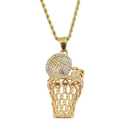 Modow Gridare a Michael Jordan & Lebron James, Great 23#, Collana Ciondolo in Acciaio Inox con Intarsiato Zirconia Cubica,d'oro
