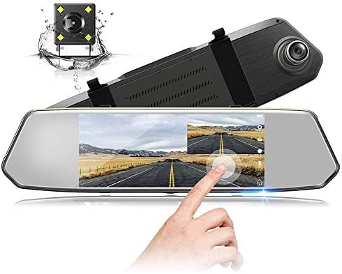 7 Inch Touch Screen Rearview Mirror Car Camera 7 Dash Car DVR Cam Front and Rear Dual Lens Night product image